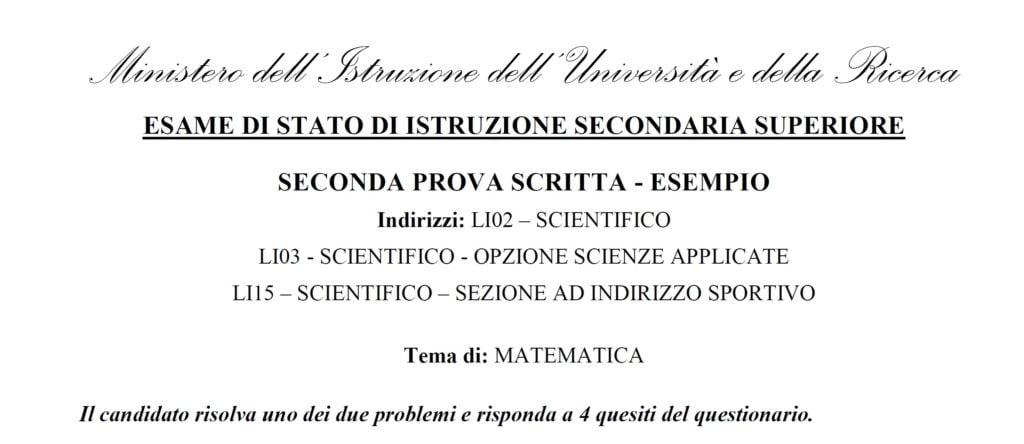 Maturità scientifica 2019 simulazione matematica